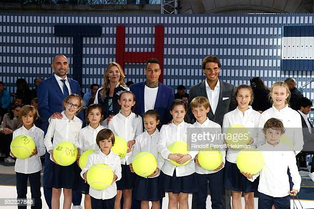 Football player Jerome Alonzo Actress Justine Fraioli Football player Gregory van der Wiel and Tennis player Rafael Nadal attend Tommy Hilfiger hosts...