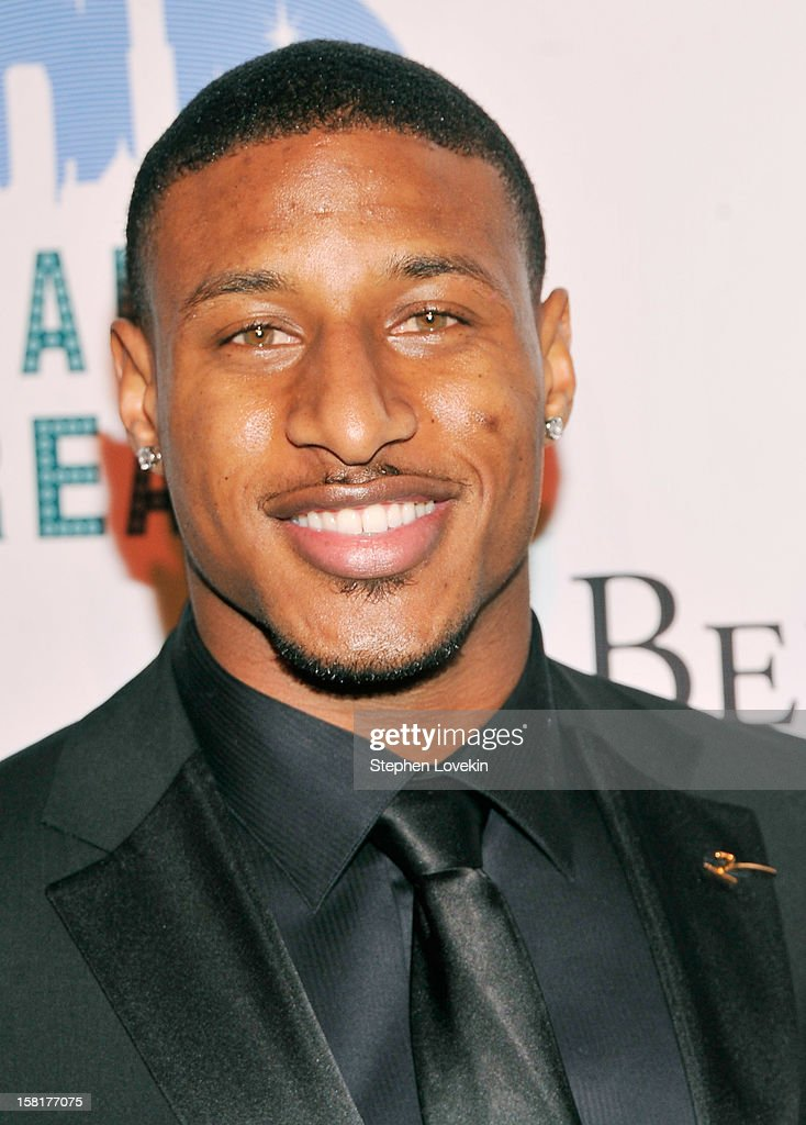 NFL football player Justin Tryon attends The Broadway Dreams Foundation 'Champagne And Caroling' Gala at Celsius on December 10 2012 in New York City