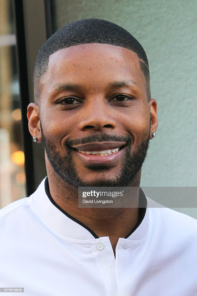 Football player Kerry Rhodes arrives at the premiere of New Line Cinema's 'Lights Out' at the TCL Chinese Theatre on July 19 2016 in Hollywood...