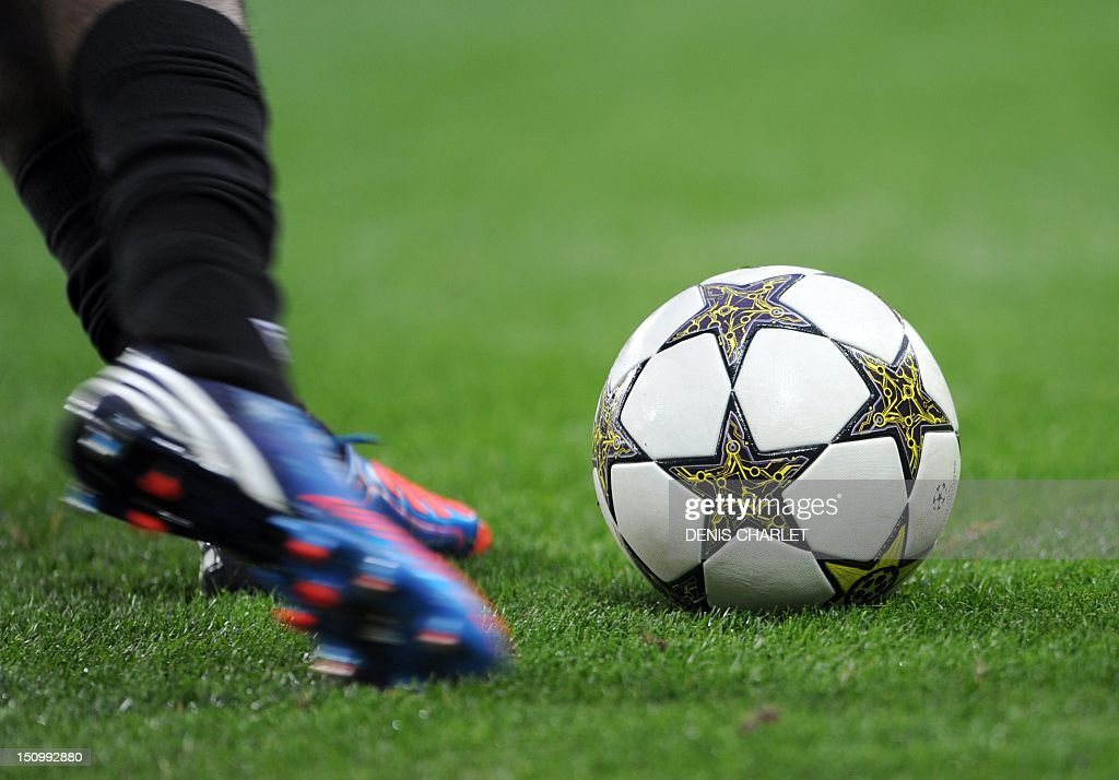 A football player kicks the ball during the UEFA Champions League football match Lille vs Copenhagen on August 29 2012 at the Grand stade in...