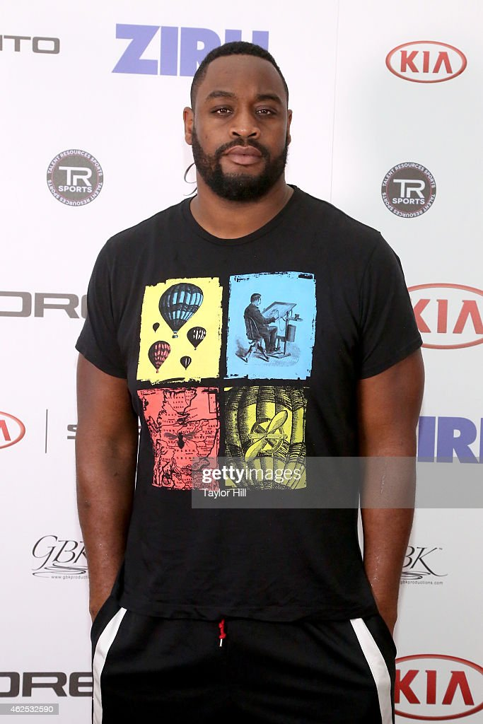 Football player Leger Douzable attends day one of the Kia Luxury Lounge presented by ZIRH at Scottsdale Center for Performing Arts on January 30 2015...