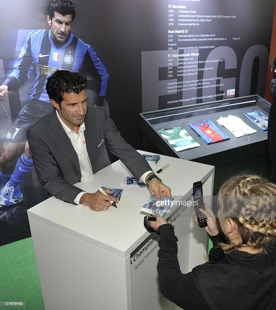 Football player <a gi-track='captionPersonalityLinkClicked' href=/galleries/search?phrase=Luis+Figo&family=editorial&specificpeople=201507 ng-click='$event.stopPropagation()'>Luis Figo</a> during sign session for fans at the UEFA Champions League Trophy Tour 2011 on September 30, 2011 in Kiev, Ukraine.