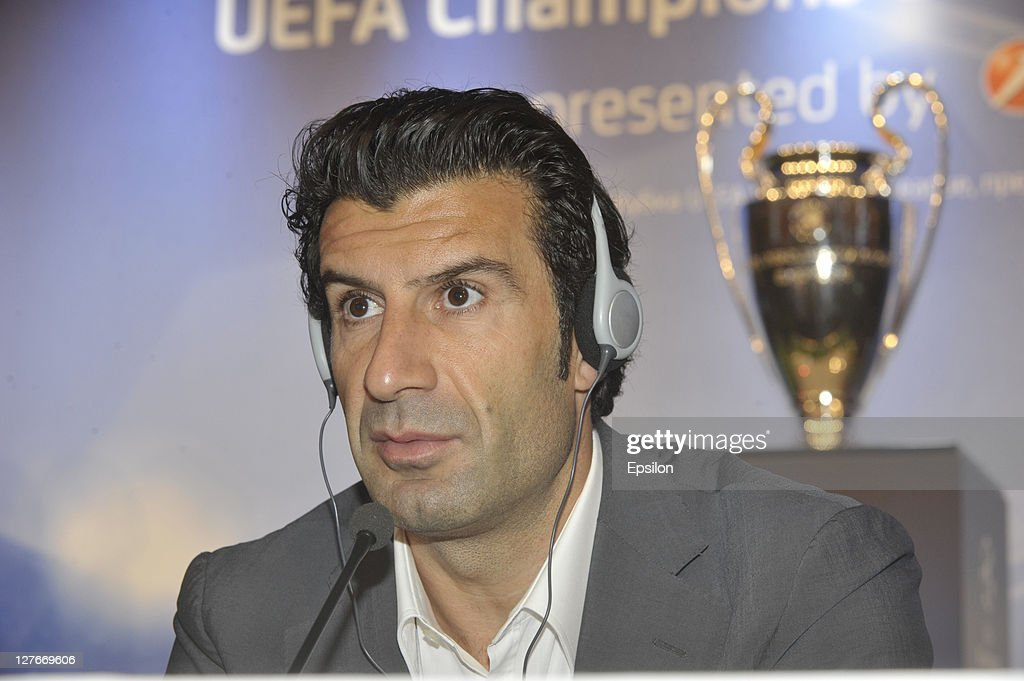 Football player <a gi-track='captionPersonalityLinkClicked' href=/galleries/search?phrase=Luis+Figo&family=editorial&specificpeople=201507 ng-click='$event.stopPropagation()'>Luis Figo</a> talks during a press conference at the UEFA Champions League Trophy Tour 2011 on September 30, 2011 in Kiev, Ukraine.