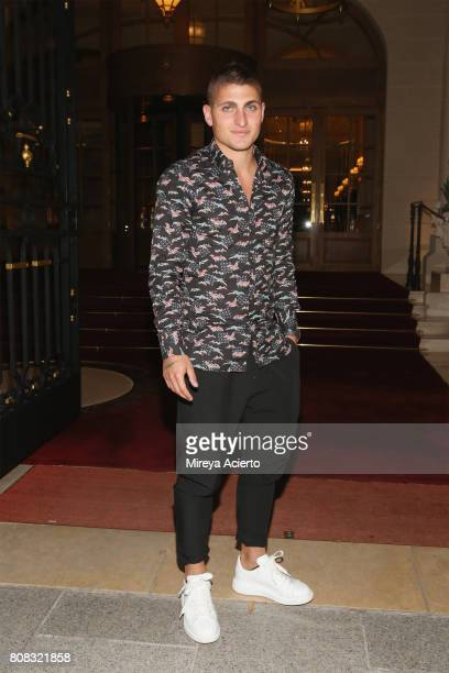 Football player Marco Verratti seen in front of the Ritz Hotel on July 4 2017 in Paris France