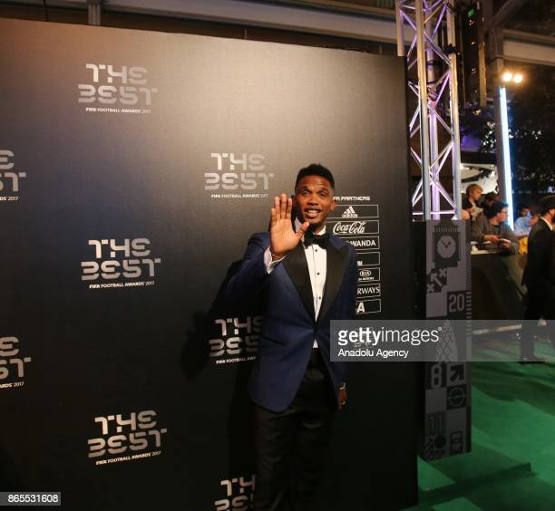 Football Player of Antalyaspor Samuel Eto poses for a photo on the green carpet during the 'The Best FIFA Football Awards' in London England United...