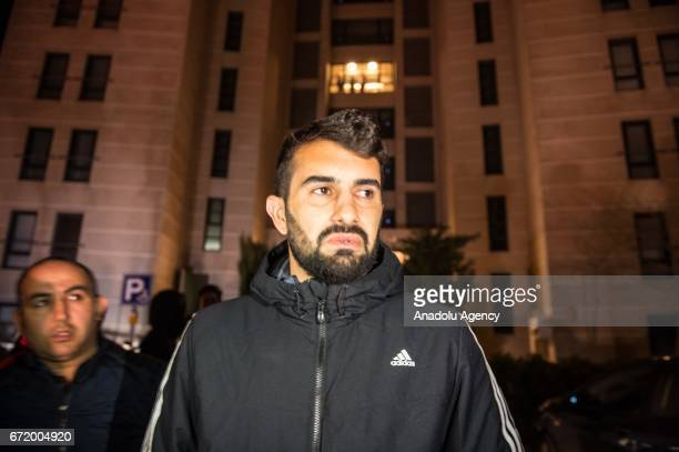 Football player of Gaziantepsor Elyasa Süme waits in front of the Czech footballer Frantisek Rajtoral's home after he was found dead in his home in...