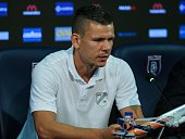Football player of Rijeka Roman Bezjak attends a press conference prior to UEFA Champions League third preliminary lap match between Medipol...
