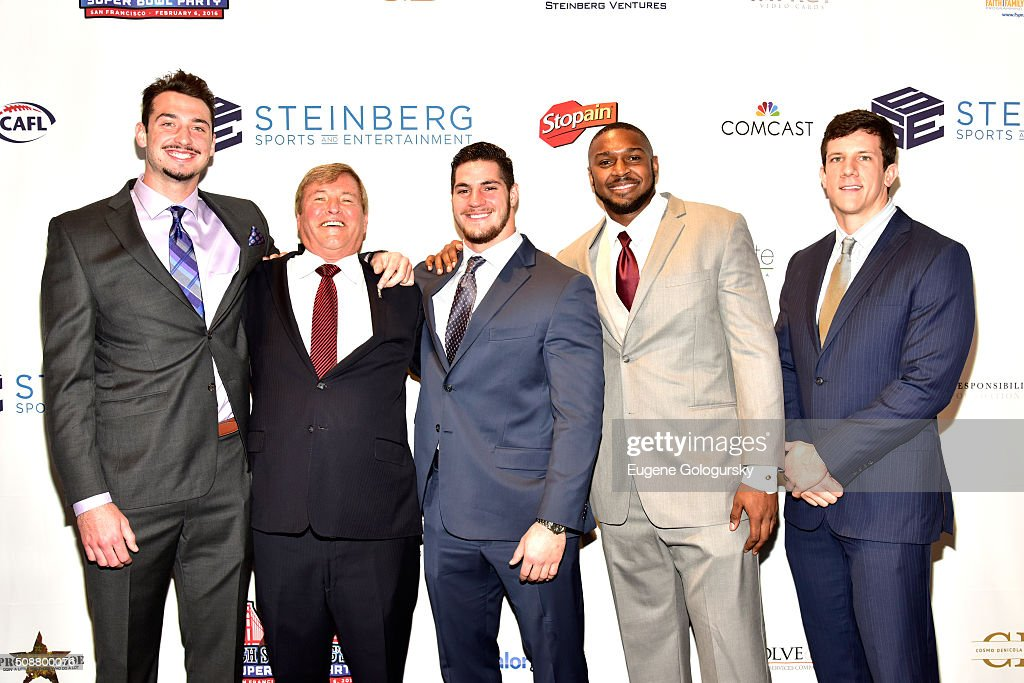 Football player <a gi-track='captionPersonalityLinkClicked' href=/galleries/search?phrase=Paxton+Lynch&family=editorial&specificpeople=11353849 ng-click='$event.stopPropagation()'>Paxton Lynch</a>, sports agent <a gi-track='captionPersonalityLinkClicked' href=/galleries/search?phrase=Leigh+Steinberg&family=editorial&specificpeople=221448 ng-click='$event.stopPropagation()'>Leigh Steinberg</a>, and football players Dan Vitale, Jonathan Woodard, and Steven Scheu attend the 29th Annual <a gi-track='captionPersonalityLinkClicked' href=/galleries/search?phrase=Leigh+Steinberg&family=editorial&specificpeople=221448 ng-click='$event.stopPropagation()'>Leigh Steinberg</a> Super Bowl Party on February 6, 2016 in San Francisco, California.