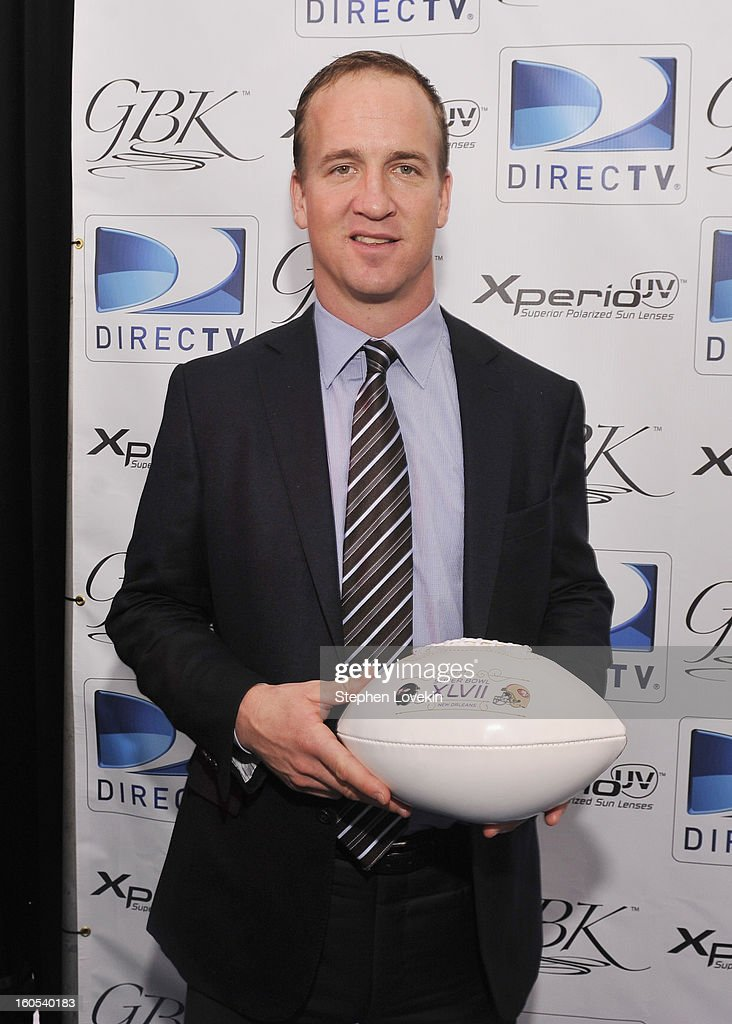 Football player Peyton Manning attends GBK and DirecTV Celebrity Beach Bowl Thank You Lounge at DTV SuperFan Stadium at Mardi Gras World on February 2, 2013 in New Orleans, Louisiana.