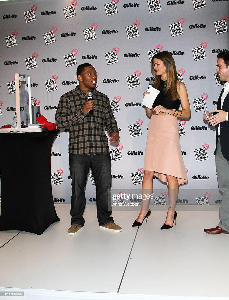 Football Player Ray Rice and Actress Brooklyn Decker attend The world's largest shave & kiss event with Gillette at Time Warner Center on February 14, 2013 in New York City.