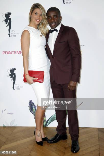 Football Player Rio Mavuba and his wife Elodie Mavuba attend 'Les Bonnes Fees' Charity Gala at Hotel D'Evreux on March 20 2017 in Paris France