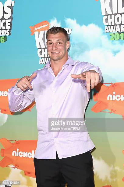 Football player Rob Gronkowski attends Nickelodeon's 2016 Kids' Choice Awards at The Forum on March 12 2016 in Inglewood California