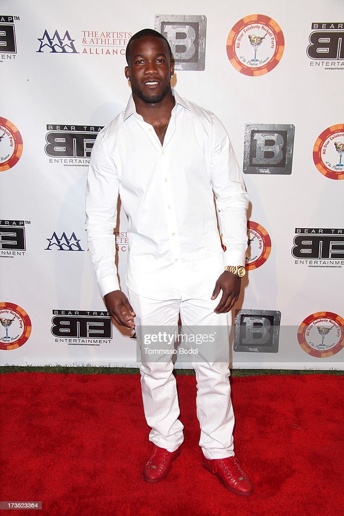Football player <a gi-track='captionPersonalityLinkClicked' href=/galleries/search?phrase=Ronnie+Hillman&family=editorial&specificpeople=7355403 ng-click='$event.stopPropagation()'>Ronnie Hillman</a> attends the 8th annual BTE All-Star Celebrity Kickoff Party held at The Playboy Mansion on July 15, 2013 in Beverly Hills, California.