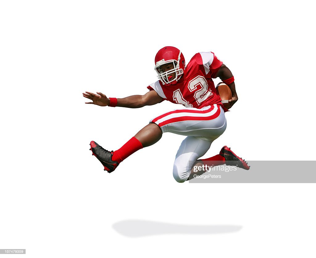 Football Player Running and Jumping with Clipping Path