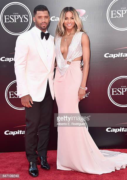 Football player Russell Wilson and recording artist Ciara attend the 2016 ESPYS at Microsoft Theater on July 13 2016 in Los Angeles California