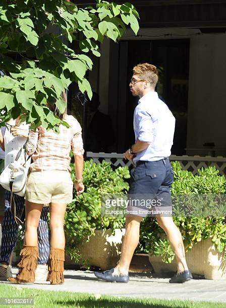 Football player Sergio Ramos and his and family sighted on August 31 2012 in Madrid Spain