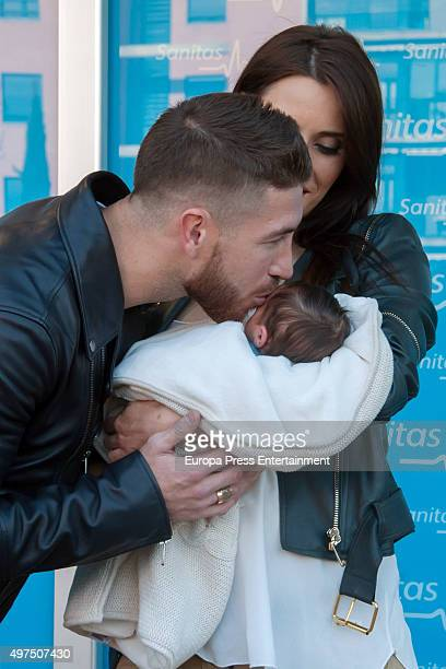 Football player Sergio Ramos and Pilar Rubio present their new born child Marco at Ruber Hospital on November 17 2015 in Madrid Spain