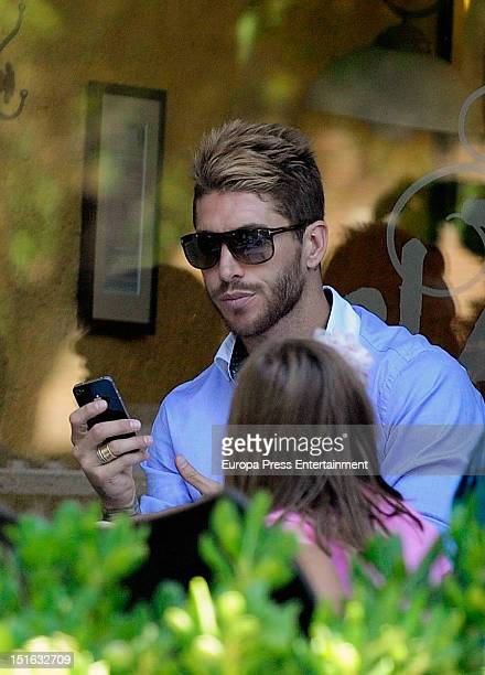 Football player Sergio Ramos his and family are seen on August 31 2012 in Madrid Spain