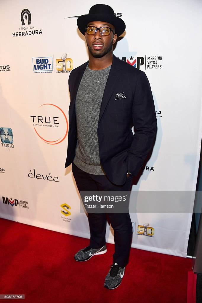 Football player Stepfan Taylor attends Glazer Palooza and Suits and Sneakers on February 3, 2016 in San Francisco, California.
