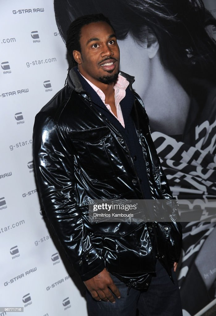 NFL football player Steven Jackson attends the GStar Raw Presents NY Raw Fall/Winter 2010 Collection at Hammerstein Ballroom on February 16 2010 in...