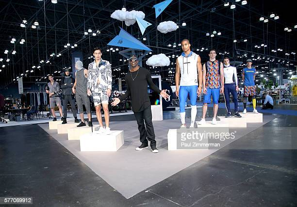 NFL football player Terrell Owens unveils his new fashion brand Prototype 81 Collection Preview at Jacob Javits Center on July 18 2016 in New York...