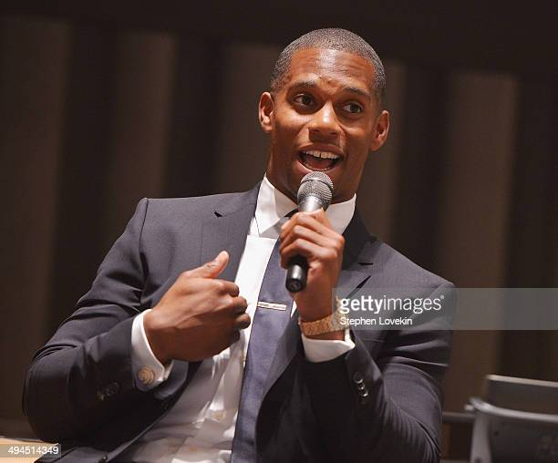 NFL football player Victor Cruz speaks to attendees at The 2014 Social Innovation Summit Presented by Landmark Ventures at United Nations on May 29...