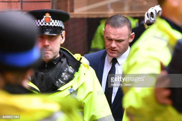 Football player Wayne Rooney arrives at Stockport Magistrates Court to face a drinkdriving charge on September 18 2017 in Stockport England The...