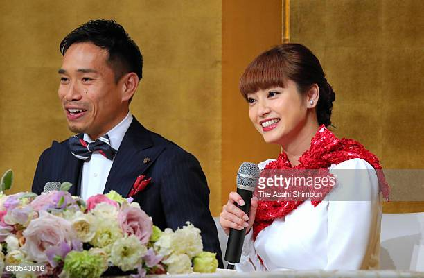 Football player Yuto Nagatomo and actress Airi Taira attend a press conference announcing their engagement on December 24 2016 in Tokyo Japan