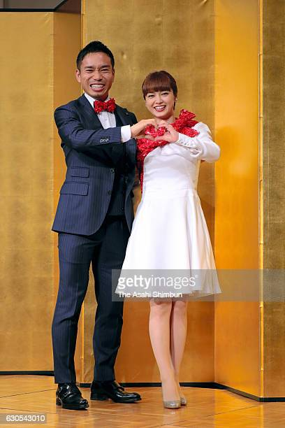 Football player Yuto Nagatomo and actress Airi Taira pose for photographs during a press conference announcing their engagement on December 24 2016...