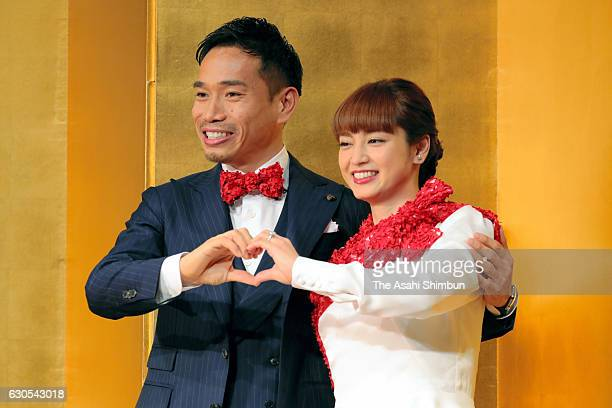 Football player Yuto Nagatomo and actress Airi Taira xxx during a press conference announcing their engagement on December 24 2016 in Tokyo Japan