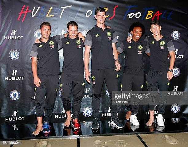 Football players Eden Hazard Cesar Azpilicueta Thibaut Courtois Willian and Oscar attend Hublot x Chelsea FC event in Los Angeles at Sony Pictures...