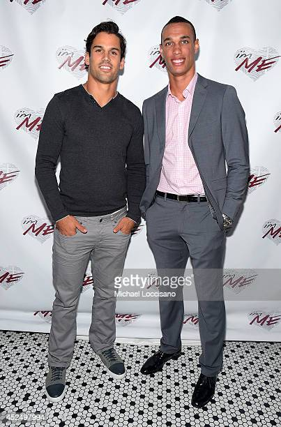 Football players Eric Decker and David Nelson attend NY Jets Wide Receiver David Nelson Kicks Off The NYC Launch of i'mME on July 21 2014 in New York...