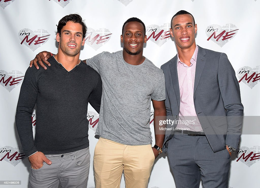 Football players Eric Decker Geno Smith and David Nelson attend NY Jets Wide Receiver David Nelson Kicks Off The NYC Launch of i'mME on July 21 2014...