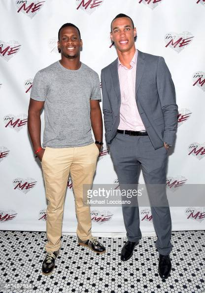 Football players Geno Smith and David Nelson attend NY Jets Wide Receiver David Nelson Kicks Off The NYC Launch of i'mME on July 21 2014 in New York...