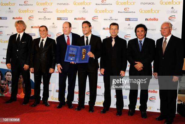 Football players Giancarlo Antognoni agent Antonio Caliendo Prince Albert of Monaco and former football players Francesco Totti Carlos Dunga Hugo...