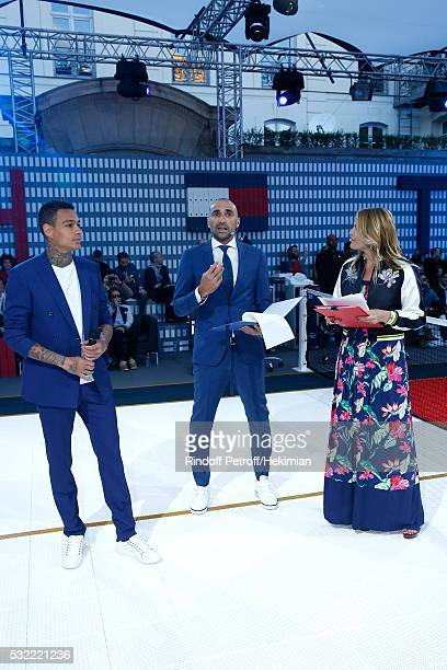 Football players Gregory van der Wiel Jerome Alonzo and actress Justine Fraioli attend Tommy Hilfiger hosts Tommy X Nadal Party Tennis Soccer match...