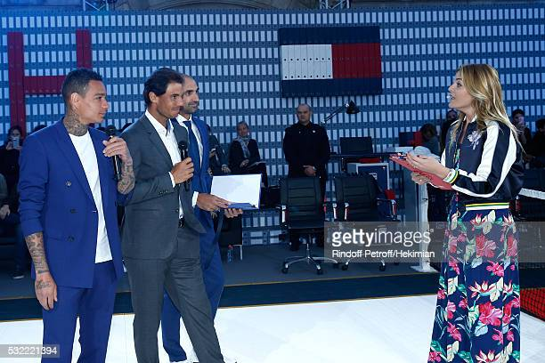 Football players Gregory van der Wiel tennis player Rafael Nadal football player Jerome Alonzo and actress Justine Fraioli attend Tommy Hilfiger...