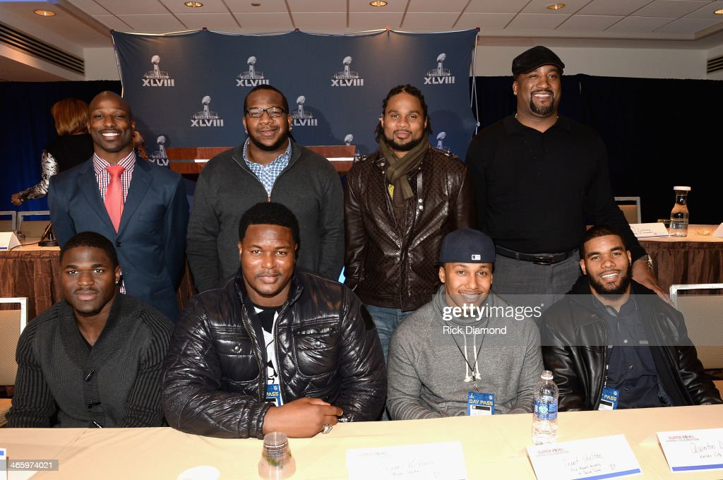 Football players <a gi-track='captionPersonalityLinkClicked' href=/galleries/search?phrase=Jason+Avant&family=editorial&specificpeople=616486 ng-click='$event.stopPropagation()'>Jason Avant</a>, Terrence Stephens, Josh Cribbs, <a gi-track='captionPersonalityLinkClicked' href=/galleries/search?phrase=Keith+Hamilton&family=editorial&specificpeople=228001 ng-click='$event.stopPropagation()'>Keith Hamilton</a>, (Bottom L-R) Victor Aiyewa, <a gi-track='captionPersonalityLinkClicked' href=/galleries/search?phrase=Bryant+McKinnie&family=editorial&specificpeople=2648683 ng-click='$event.stopPropagation()'>Bryant McKinnie</a>, Trent Shelton, and <a gi-track='captionPersonalityLinkClicked' href=/galleries/search?phrase=Quintin+Demps&family=editorial&specificpeople=5085122 ng-click='$event.stopPropagation()'>Quintin Demps</a> attend the Super Bowl Gospel Celebration press conference at Super Bowl XLVIII Media Center, Sheraton Times Square on January 30, 2014 in New York City.