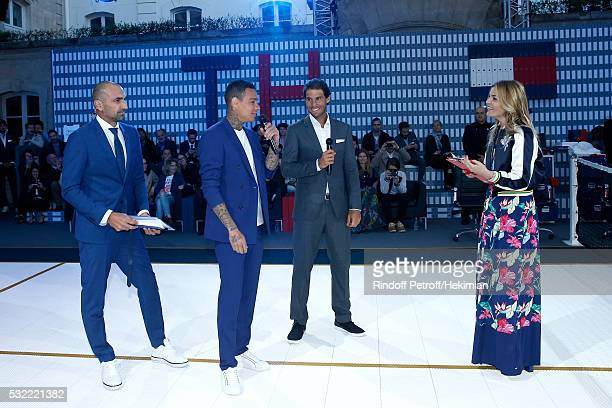 Football players Jerome Alonzo Gregory van der Wiel tennis player Rafael Nadal and actress Justine Fraioli attend Tommy Hilfiger hosts Tommy X Nadal...