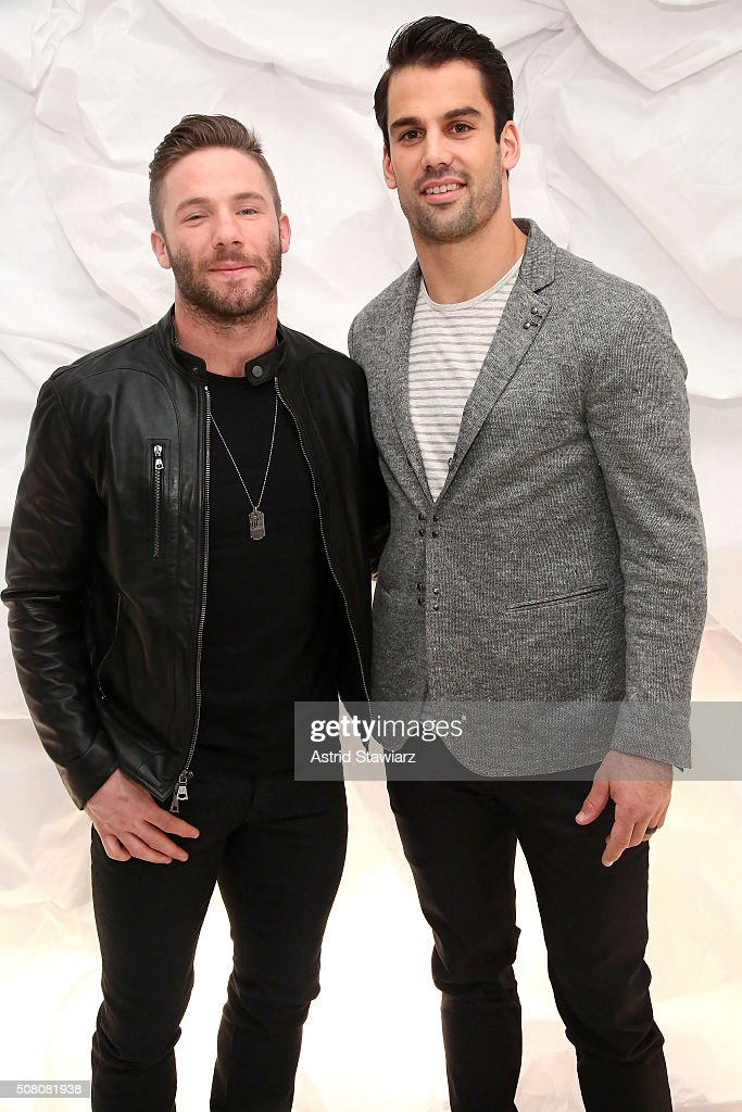 Football players Julian Edelman (L) and Eric Decker attend John Varvatos Fall/Winter 2016 Multimedia Experience on February 2, 2016 in New York City.