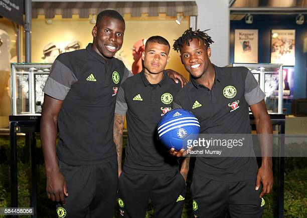Football players Kurt Zouma Kenedy and Michy Batshuayi attend Hublot x Chelsea FC event in Los Angeles at Sony Pictures Studios on July 28 2016 in...