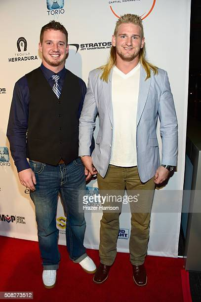 Football players Kyle Emanuel and Brock Hekking attend Glazer Palooza and Suits and Sneakers on February 3 2016 in San Francisco California