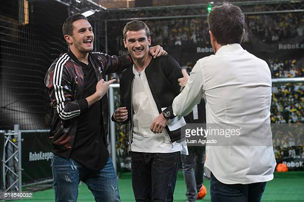 Football players of Atletico de Madrid Jorge Resurreccion aka Koke and Antoine Griezmann attend 'El Hormiguero' TV Show at Vertice Studios on March 9...