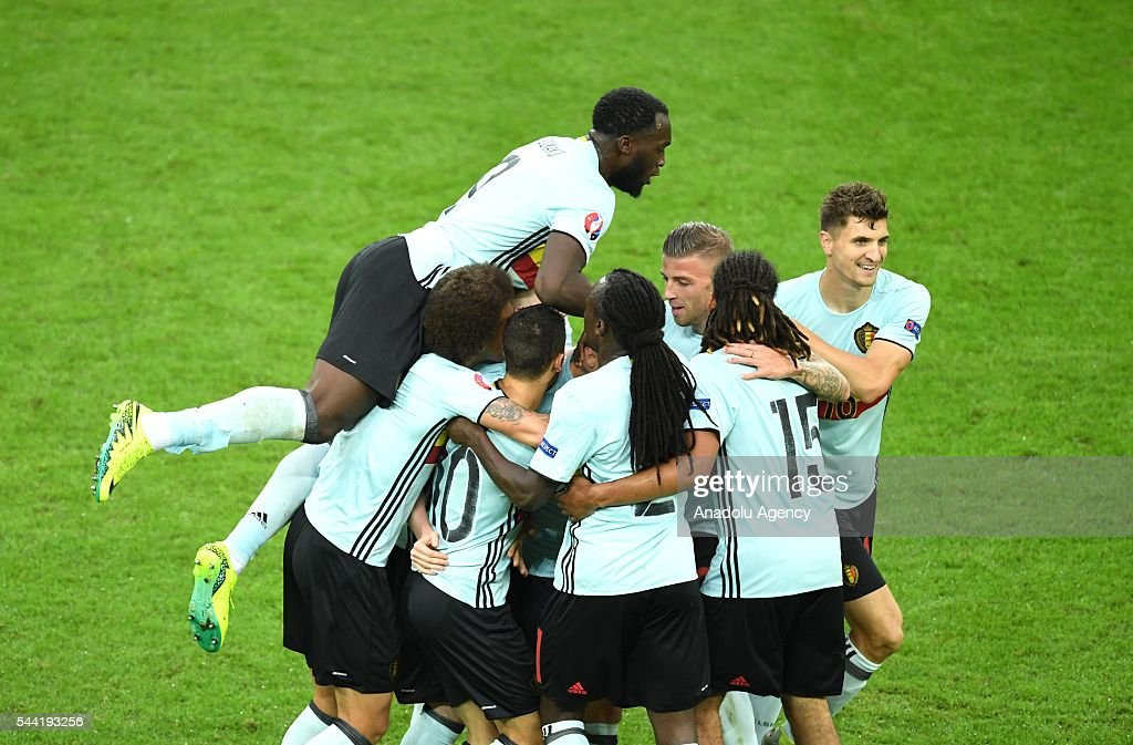 Football players of Belgium celebrate after scoring a goal during the Euro 2016 quarter-final football match between Wales and Belgium at the Stadium Pierre Mauroy in Lille, France on July 1, 2016.