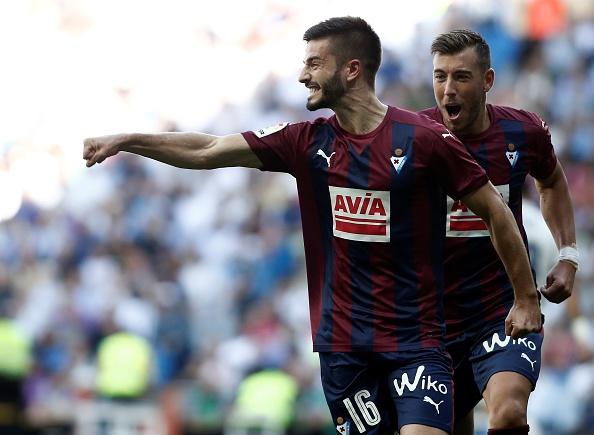 Eibar players celebrating goal against Madrid