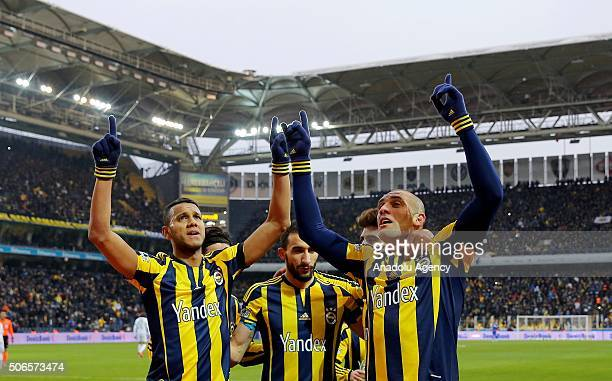 Football players of Fenerbahce celebrate after Fernandao scored a goal during the Turkish Spor Toto Super Lig football match between Fenerbahce and...
