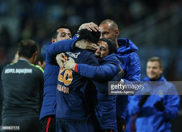 Football players of Medipol Basaksehir celebrate after they scored a goal during the Turkish Spor Toto Super Lig football match between Medipol...