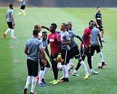 Football players of Monaco attend a training session prior to UEFA Champions League third preliminary lap match between Fenerbahce and Monaco at...