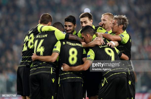 Football players of Sporting CP celebrate after Alex Sandro of Juventus scored an own goal during the UEFA Champions League group D football match...