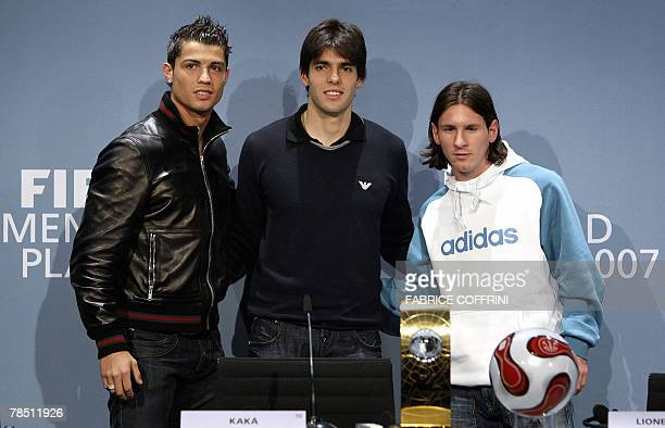 Football players Portugal's Cristiano Ronaldo Brazil's Kaka and Argentina's Lionel Messi pose during a press conference prior to the FIFA World...